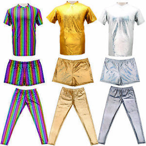 Mens Metallic Shiny Top Shorts Trousers Gay Pride Outfit Costume Silver Gold