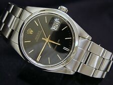 Rolex Oysterdate Stainless Steel Watch Oyster Band Black & Gold Stick Dial 6694