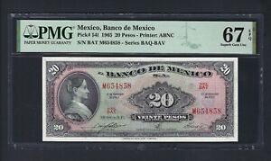 Mexico  20 Pesos 17-2-1965 P54I Uncirculated Graded 67