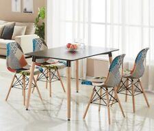 Patchwork Eiffel Halo Dining Set - 4 x Fabric Chairs & Black Halo Table Modern