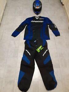 Moto Cross , Adult  ONEAL Pants And Jersey  BLUE &  BLACK, M2R Helmet