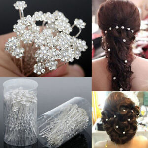 Pearl Flower Diamante Crystal Hair Pins Clips Prom Wedding Bridal Party