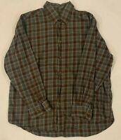 Orvis Mens Plaid Flannel Shirt Sz XL Soft Button Down Long Sleeve Cotton Brown