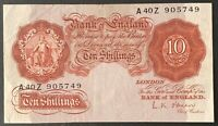 Bank of England. Ten Shillings. B271. L.K. O'Brien. 1955. A40Z 905749. (BN45)