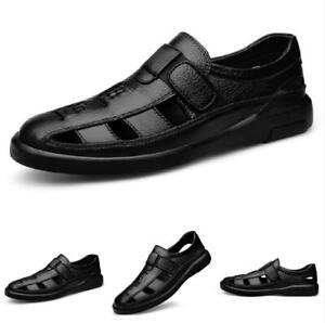 Summer Mens Black Beach Sandals Shoes Closed Toe Walking Breathable Flats Shoes