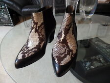 TOP SHOP BEAUTIFUL ANKLE BOOTS BLACK AND SNAKE EMBOSSED LEATHER SZ 36 NWOB