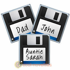 "RETRO FLOPPY COMPUTER DISK 3.5""- PERSONALISED COASTER / BEER MAT GIFT - ANY NAME"