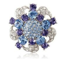 Vintage Style Purple Blue Flower Wedding Bouquet Shiny Diamante Brooch Pin BR336