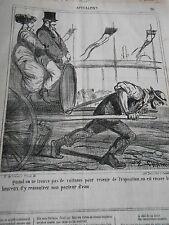 Litho Caricature 1867 Pas de voiture pour aller à l'expo mais un porteur d'eau