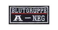A-neg sangre grupo Patch Patch badge Biker heavy rocker perchas imagen sotana Stick