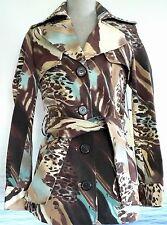 NWT VERTIGO PARIS Swirl Cheetah Trench Coat Womens S Jacket VT31164 Belt New