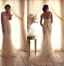 2017 Vintage Lace Cap Sleeve Wedding Dresses New V Back Bridal Gowns Size Custom