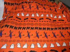 Halloween ghosts stripes orange bat fabric material pumpkins sewing spiders