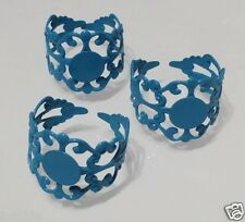 4 x Bright Blue Filigree Ring Blanks Bases - Cabochon Rings