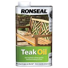 Ronseal Teak Oil 1L Water Repellent Hardwood Garden Furniture Protection Clear