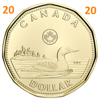 New 2020 Canada $1 One Dollar Coin Common Loonie, Uncirculated, 2020