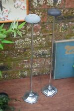 Matching Pair Large Art Deco Chrome Plated Shop Display Adjustable Hat Stands