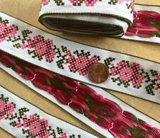 Woven Jacquard Cotton+Rayon Ribbon Trim~Floral~pink+olive green:white~1 3/8x4yds
