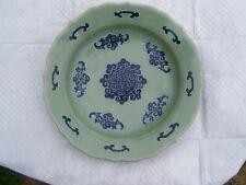 antique chinese large celedon bowl bat wing design marked on bottom