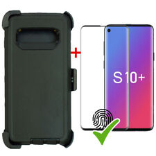 BLACK Defender Case For Samsung Galaxy S10+ Plus W/Screen & Clip Fits OtterBox