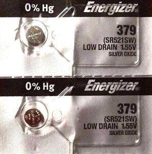 2 NEW ENERGIZER SR521SW 379 Silver Oxide 1.55v Watch Batteries Aussie Stock