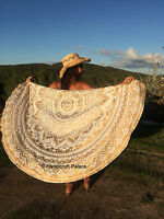 Indian Bohemian Gold Ombre Mandala Round Tapestry Hippie Beach Throw Yoga Mat
