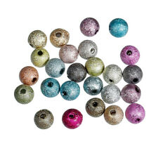 60 Stück Acryl Perlen Rund Mix Bunt Durchmesser 6mm glitzernd Basteln SchmuckDIY