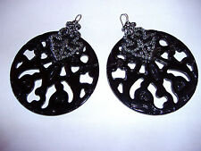 NEW ANTHROPOLOGIE  BLACK ACRYLIC GIPSY EARRINGS WITH STERLING SILVER HOOKS