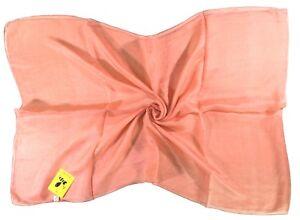 Coral Pink Fine Long Silk Scarf (B46)