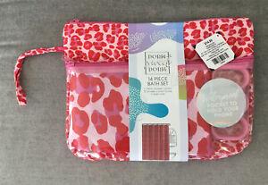 Dorm Sweet Dorm 14 Pc Shower Curtain Set Pink Leopard 1 Curtain 12 Hooks 1 Tote