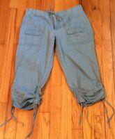 Womens Tommy Hilfiger Jeans Cargo Baby Blue 5 Cargo Linen Capris Drawstring EUC
