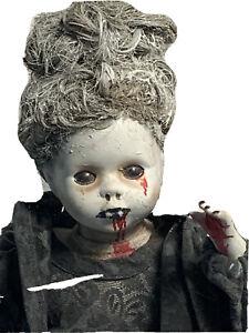VAMPIRE OOAK BISQUE DOLL Creepy gothic horror Halloween Prop Evil Possessed MENA