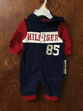 Tommy Hilfiger Baby-Boys Newborn Coverall with Hoody, Navy/Red, 3-6 Months