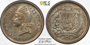 Dominican Republic 1937 10 Cents Centavos PCGS AU55