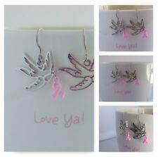Silver Bird Pink Ribbon Earring Set New Women's Drop Dangle Breast Cancer