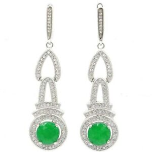 SheCrown Hot Sell Long Real Green Emerald White CZ Woman's Gift Silver Earrings