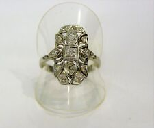 Cut Bright Classic 1930 Vintage Antique White Gold Ring 18Kt Diamonds