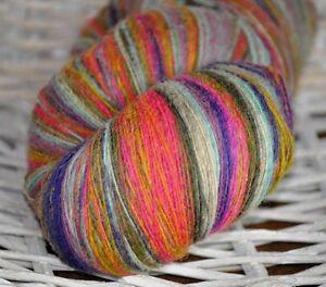 100% Schurwolle Tücherwolle Schafwolle Wolle Lace Strickgarn handgefärbt *518*