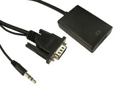 VGA TO HDMI CONVERTER ADAPTOR WITH AUDIO 1080p MALE VGA TO FEMALE HDMI. JACK USB