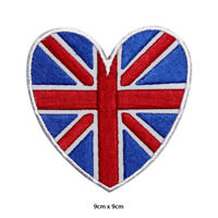 UK Heart Flag Round Embroidered Patch Iron on Sew On Badge For Clothes etc