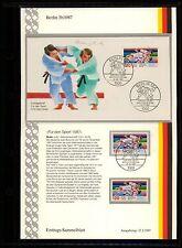 BERLIN ERSTTAGS-SAMMELBLATT 1987 SPORT JUDO WM SPORTS z1967