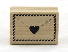 Envelope & Heart Wood Mounted Rubber Stamp Martha Stewart NEW love valentine art