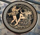 Vintage 24 k gold decorative Hand Painted Black (Dionysos)Plate From Greece