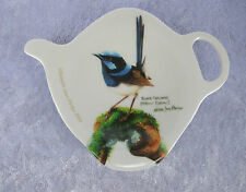 ASHDENE TEA BAG HOLDER/TEASPOON REST - BLUE WREN - BIRDS OF AUSTRALIA COLLECTION