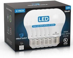 Great Eagle A19 LED Light Bulbs 100 Watt, Cool White 4000K 1500 Lumens 4-or 6-Pk