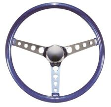 "15"" Mooneyes California 3-Spoke 4 Hole Steering Wheel Metallic Blue GS280CMBL"