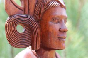 """Vintage Monkeypod Hand-carved Sculpture Female Nude Bust w/ Headdress 12 1/4"""" H"""