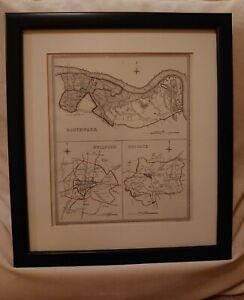 Framed Vintage SURREY Map Southwark Guildford Reigate. Creighton / Walker 1835
