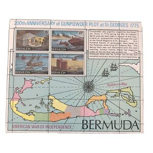 BERMUDA, SCOTT # 329a-332a(4), S/S 1975 AMERICAN INDEPENDENCE+GUNPOWDER PLOT MNH