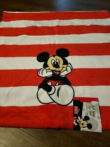 "Mickey Mouse Cotton Bath Towel - 25"" X 50"" Red White Stripe NEW"